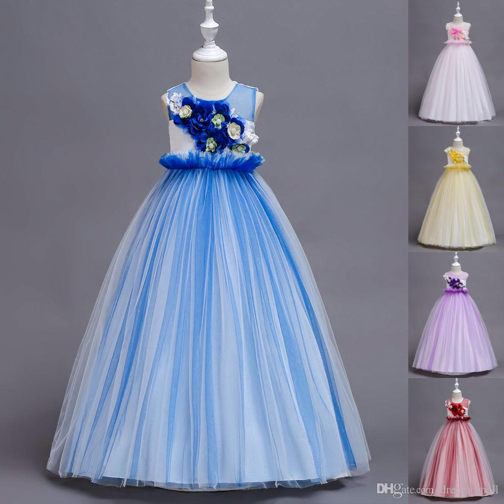 Princess Long Flower Girl Dress Sleeveless Teens Wedding Ceremony Party Gowns Children Clothes