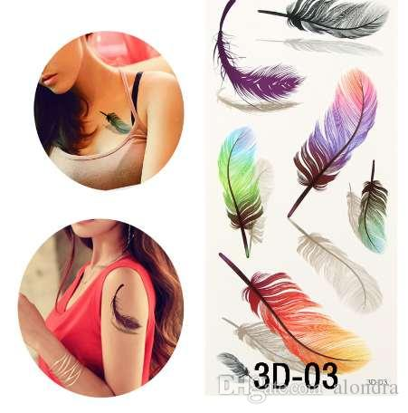 Colorful 3d On Body Art Chest Body Tattoo Stickers Glitter Temporary
