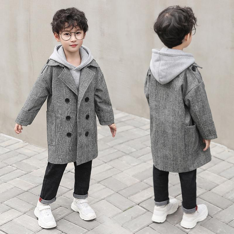 307fca3b6569 Gray Plaid Pockets Long Jackets For Baby Boys Fashion Trench Coats ...