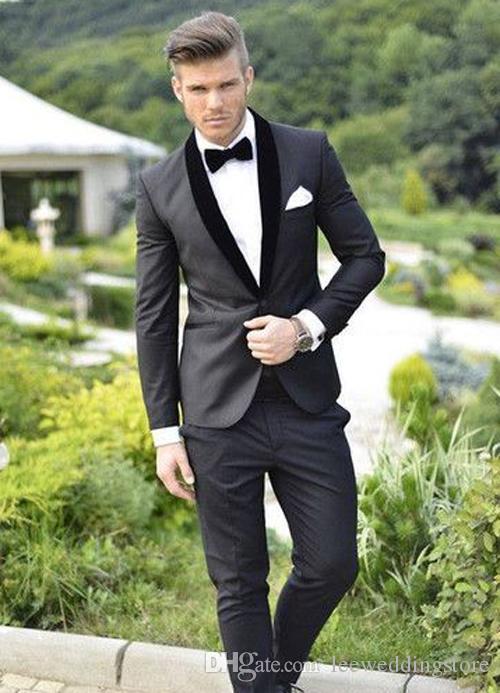 8b4ccad37cb6 Black Men Suits Formal Shawl Lapel Blazer Slim Fit Wedding Suit Business  Tailored Tuxedo Custom Made Terno Masculino Jacket+Pants 1920s Mens Formal  Wear All ...