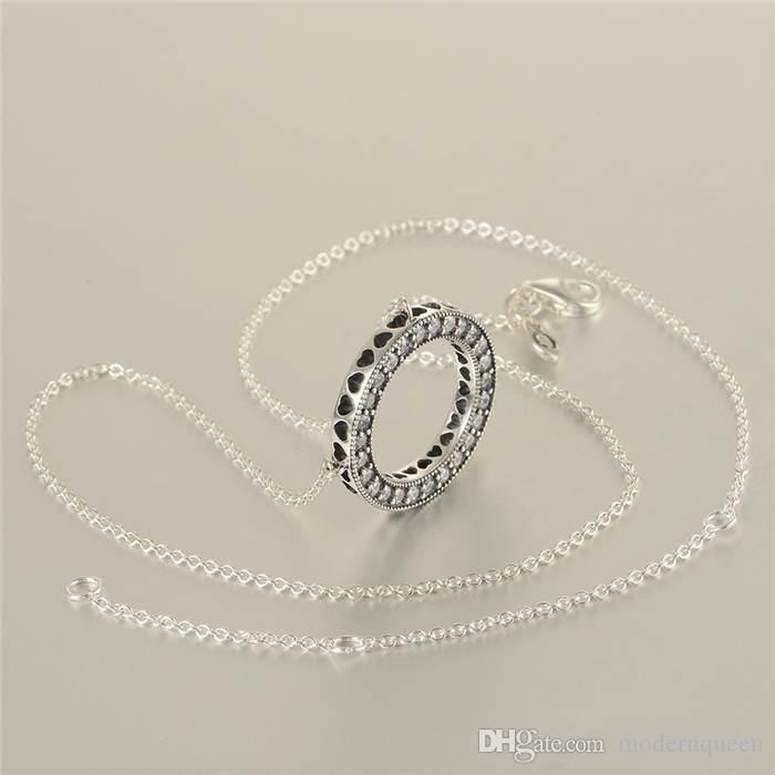 Colares de prata coração se encaixa encantos estilo pandora 590514CZ-45 H8