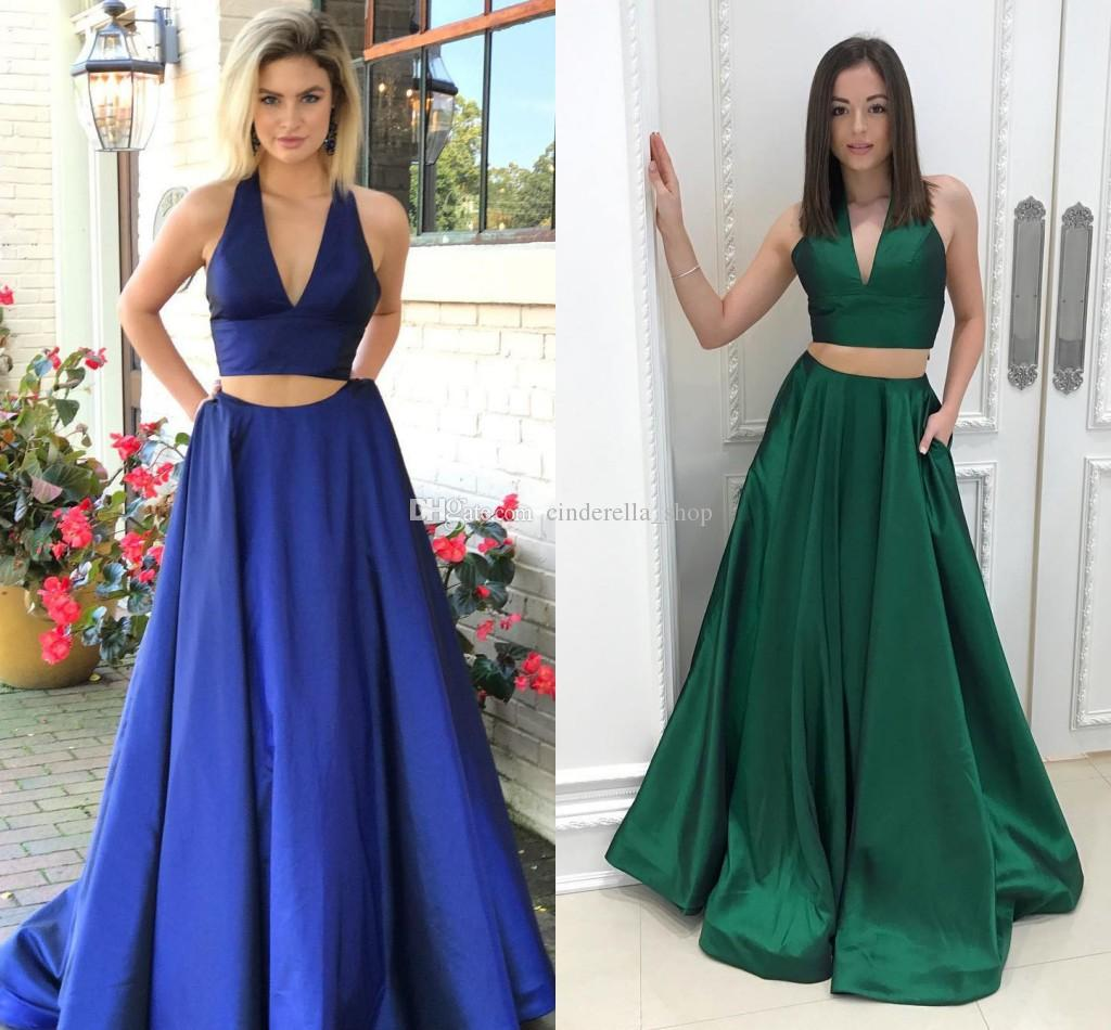 c4f82f6ce03 2018 Two Pieces Royal Blue Prom Dress A Line Halter Backless Sweep Train  Satin Long Evening Party Gowns For Graduation Cheap Xoxo Prom Dresses  Affordable ...