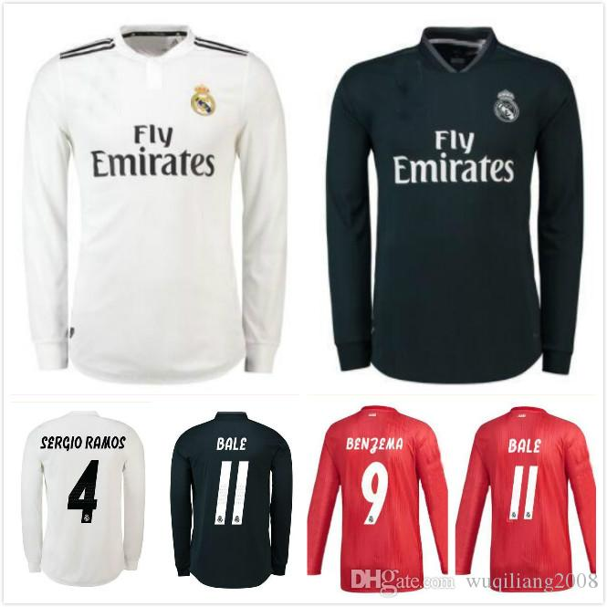 834e27ea5dd 2019 Best Quality 18 19 Real Madrid Soccer Jersey MODRIC CR7 Long Sleeves  Home Away 3RD BENZEMA BALE KROOS RAMOS ISCO NAVAS Football Shirt From ...