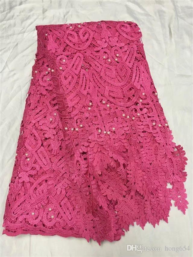 The latest red embroidery 3D dress, water-soluble bead lace, African French chiffon, high quality wedding dress 5yardYDH31