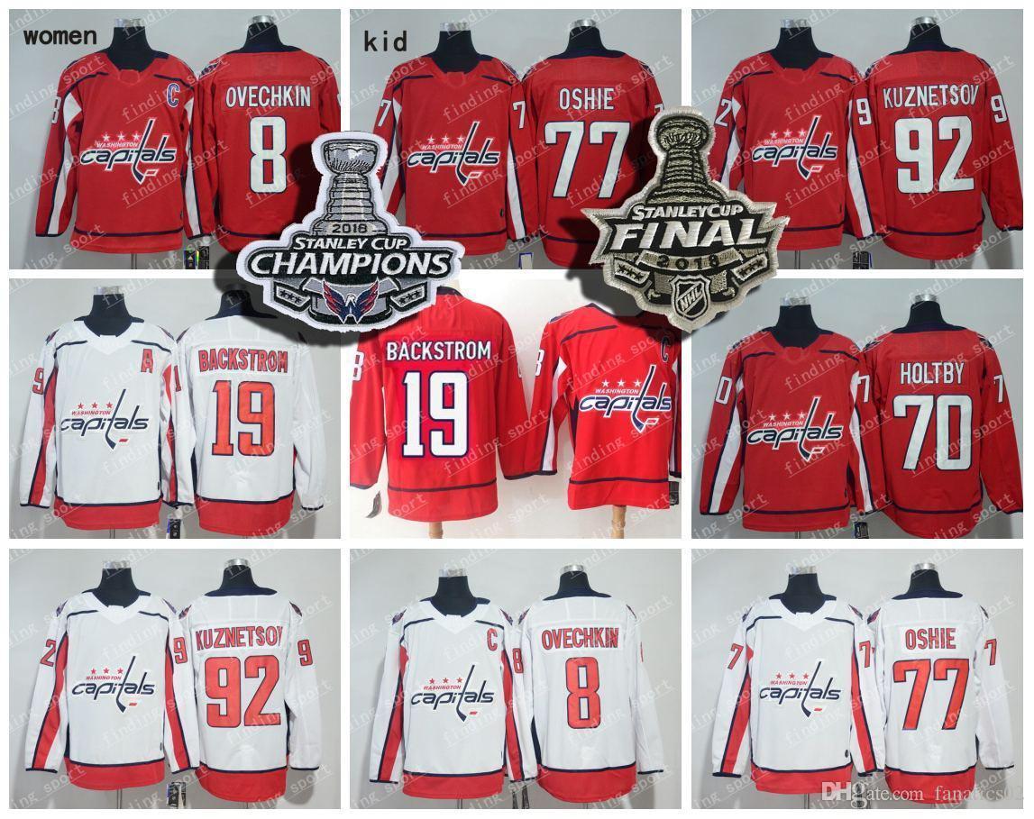 2018 Men Women Kid 19 Nicklas Backstrom 8 Alex Ovechkin 92 Evgeny Kuznetsov 77  T.J. Oshie 70 Braden Holtby Washington Capitals Hockey Jersey 8 Alex  Ovechkin ... bced12eca