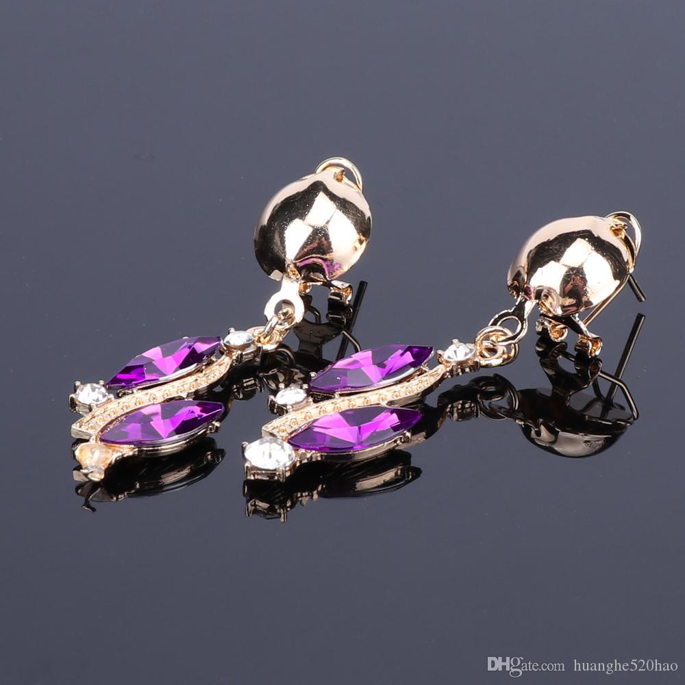 Yeni Moda Mor Rhinestones Kristal Bildirimi Kolye Gelin Takı Setleri Dekorasyon Kolye Mücevherat Hediyeler Kadınlar için