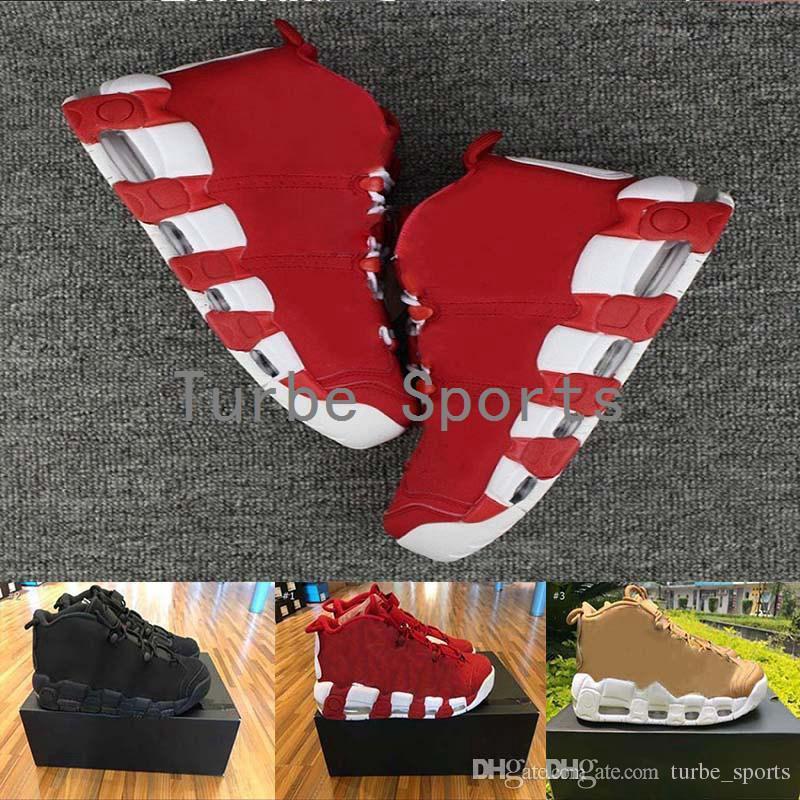 (Mit Box) 2018 Neue 96 QS Schwarz Rot Gold Herren Basketballschuhe für 3M Scottie Pippen Air mehr Uptempo Sportschuhe Sneakers 7 13