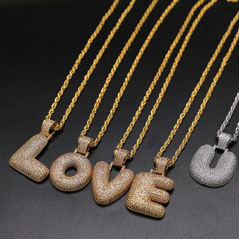 Wholesale Topfashionqueen Factory Price A Z Custom Bubble Letter Pendant  Hip Hop Bling CZ Iced Out Chain Necklace Gold Filled Pendant Necklaces  Letter ... 54c69151a9e0