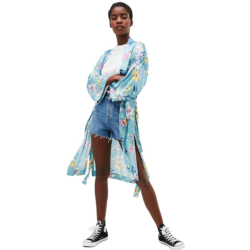 ab2a81d399 2019 Fashion Women Casual Plus Size Kimono Satin Floral Print Open Front  Tie Loose Thin Long Elegant Bikini Cover Up Cardigan Blue From Lixlon07