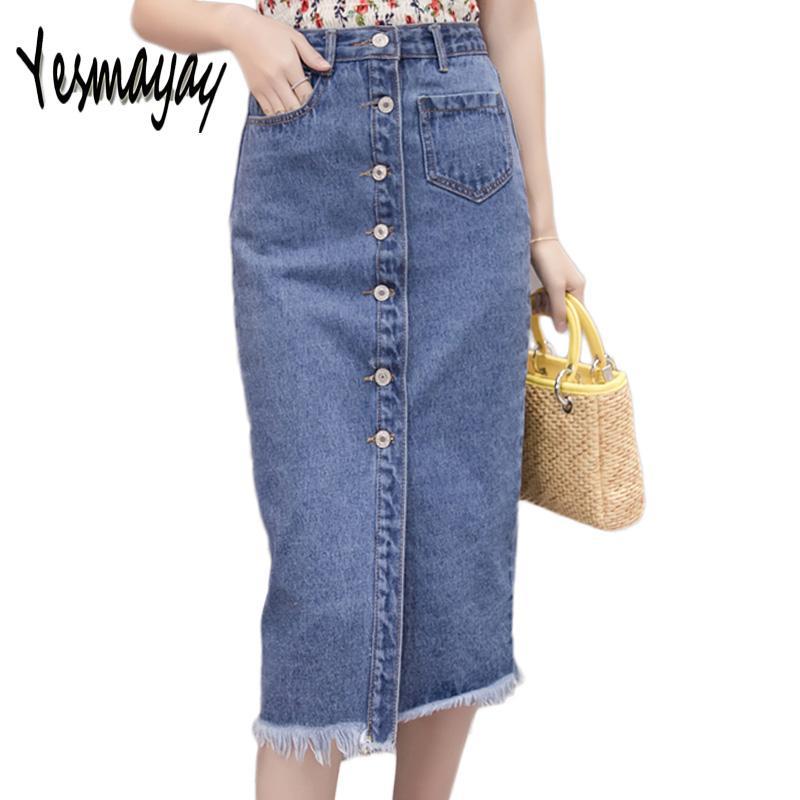 3b8e360f11fa Frauen Sommer 2018 Elegante Taste Denim Midirock Saias Mädchen Beiläufige  Dünne Hohe Taille Lange Jeans Denim Frauen Rock Faldas Jupe