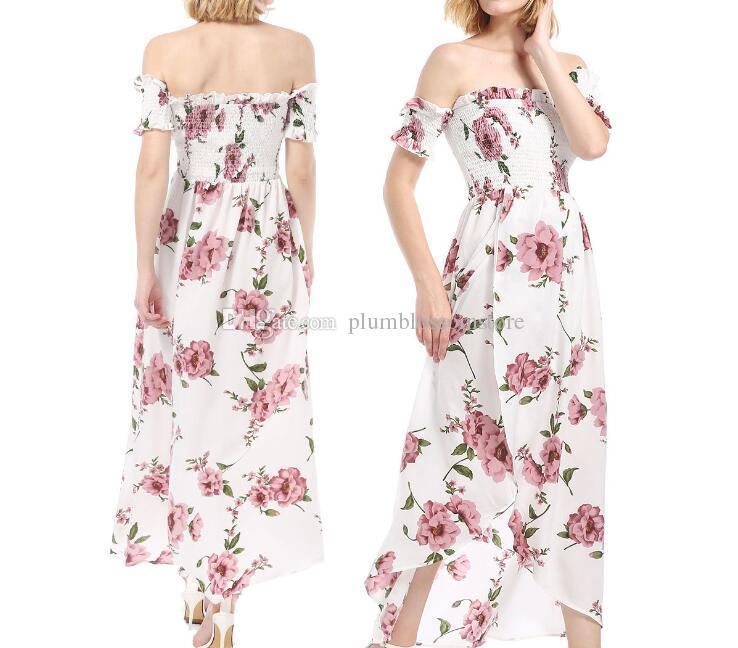 983bb6723638 Summer Beach Dresses Women Chic Floral Printed Boho Chiffon Off ...
