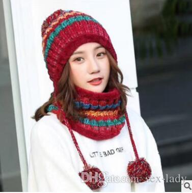 f4ba4f8c64d Women Plus Velvet Knitted Hat Scarf Set Autumn Winter Thick Beanie ...