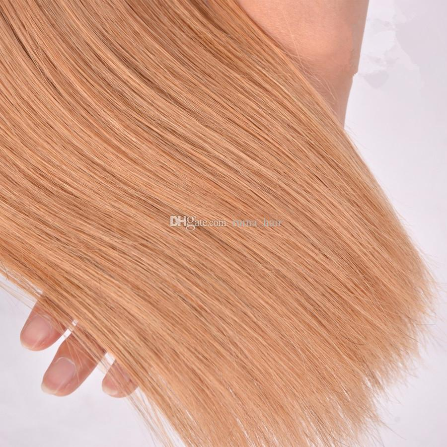 Honey Blonde del pelo recto de color Extensión # 27 recta de seda brasileño de la Virgen Unprocess Cabello humano 3Bundles Strawberry Blonde trama del pelo