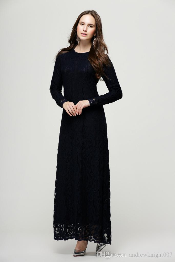 Encaje musulmán túnicas árabes moda mujer islámica Abaya Kaftan vestido de manga larga para mujer vestido maxi verde negro rosa