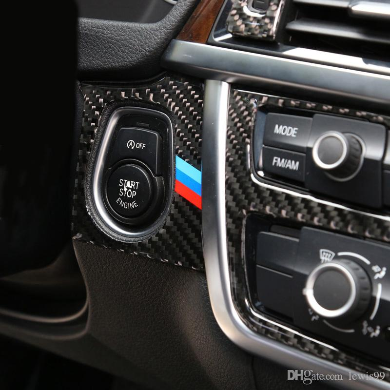 2019 Carbon Fiber Car Styling Engine Start Stop Ring M Stripe Trim