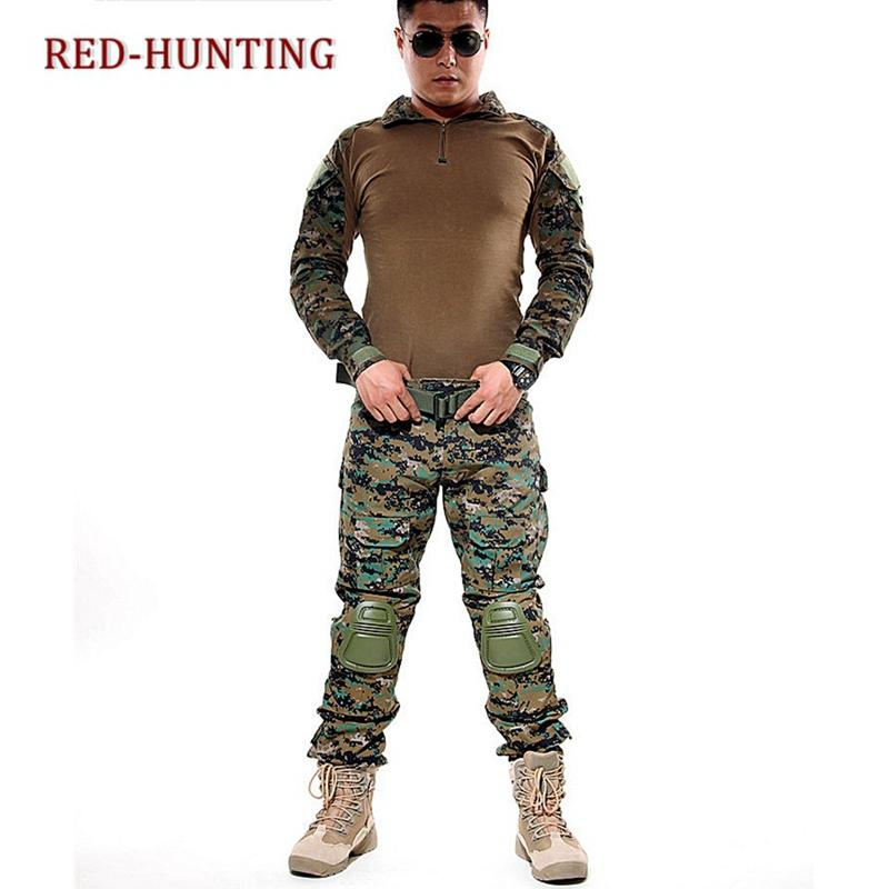 Woodland Camo Digital FG AU ACU Multicam Mens Tactical Combat Frog Suit Set Shirt Pants Uniform