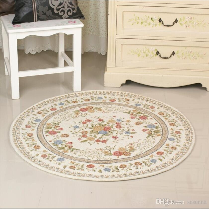 Home Bedroom Rugs And Carpets 100CM Round Pastoral Style Carpets For Living Room Computer Chair Area Rug Children Play Mat