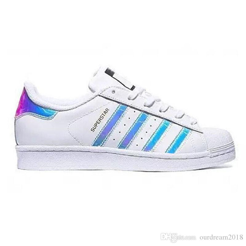 check out d799c 8d87b NEW rainbow Superstar White Hologram Iridescent Junior Superstars 80s Pride  Sneakers Super Star Women Men Sport Running Shoes 36-44