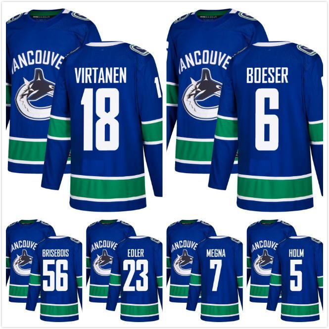 Custom 40 Elias Pettersson Vancouver Canucks 18 Jake Virtanen 6 Brock Boeser  Alexander Edler Philip Holm Brisebois White Hockey Jersey Stich UK 2019  From ... 6286f6ec0