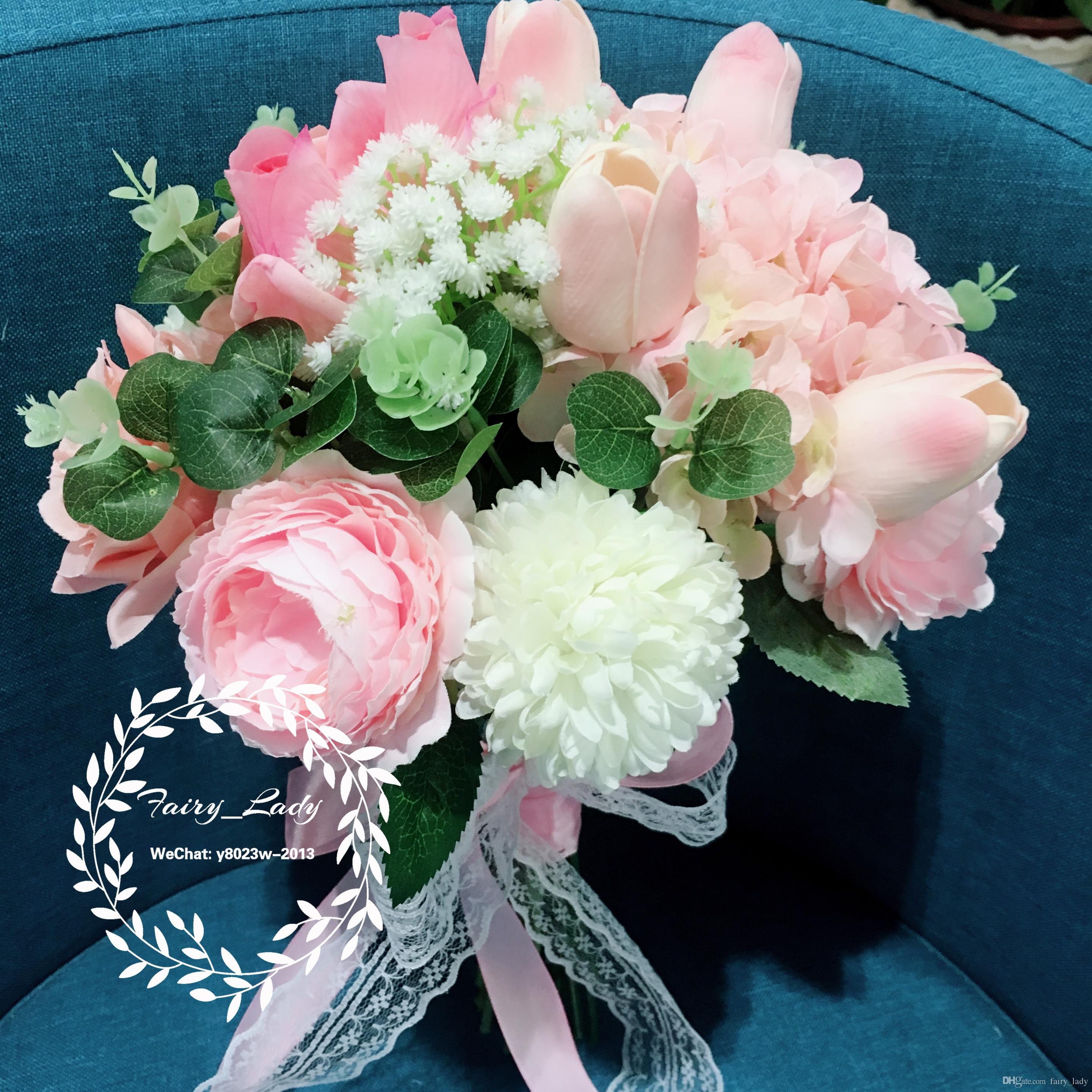 High end 100 real photos pink wedding bouquets lace handle home high end 100 real photos pink wedding bouquets lace handle home decoration 2018 artificial rose peony pageant bridal flowers for bride wedding flowers izmirmasajfo
