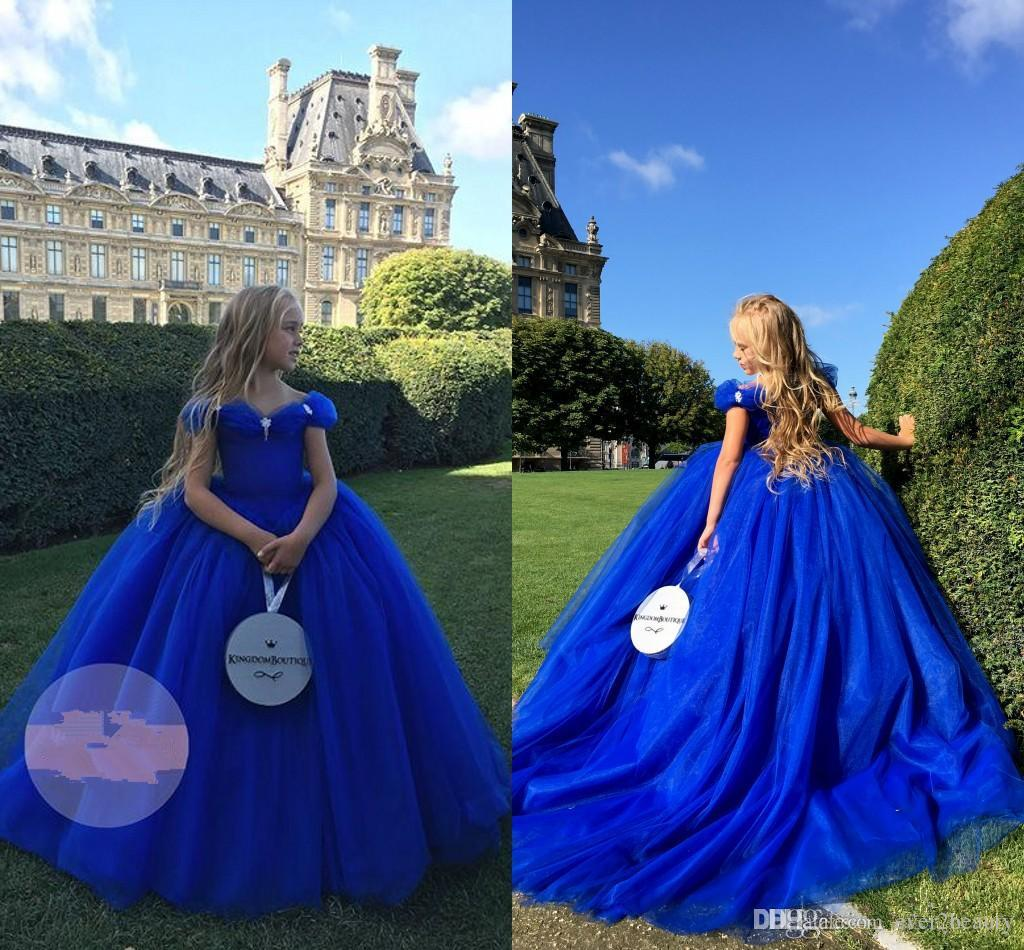 Royal Blue Cinderella Girl's Birthday Pageant Dresses 2018 Off Shoulders Beaded Basque Waist Ball Gown Pricness Lovely Flower Girl's Dresses