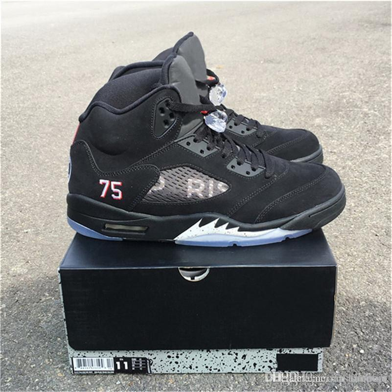 0a45f6e328e017 2019 2018 Release Authentic 5 PSG Paris 5s Basketball Shoes For Man Black  Suede Limited Sports Sneakers With Box AV9175 001 From Mic outdoor