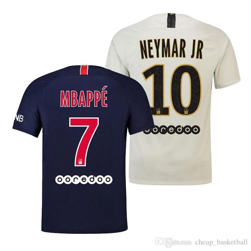 0c683edde5d 2018 19 Jersey  7 MBAPPE Away White Soccer Jersey  10 NEYMAR JR ...