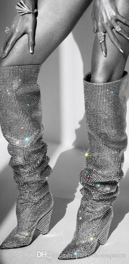 fdf30cabad 2018 new women spike heel boots knee high diamond boots pointed toe booties  glitter crystal high heel boots ladies party shoes