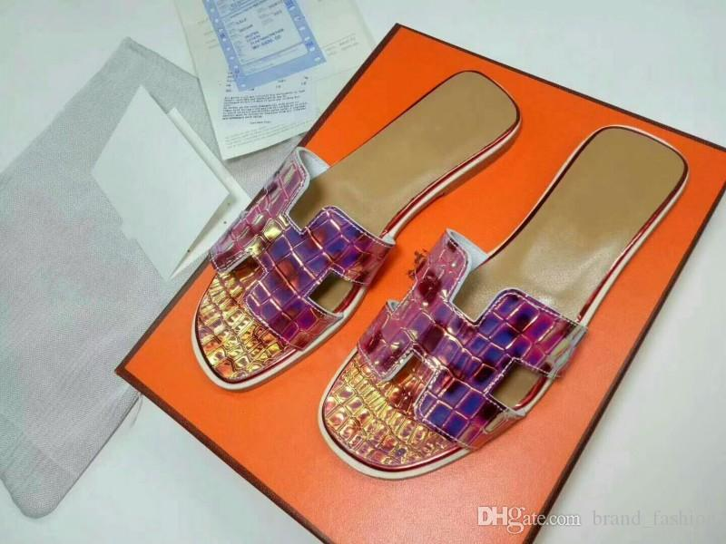 f4f69a2aefc5 Colorful Slippers Flat Heel Open Toe Fashion Brand Genuine Leather ...