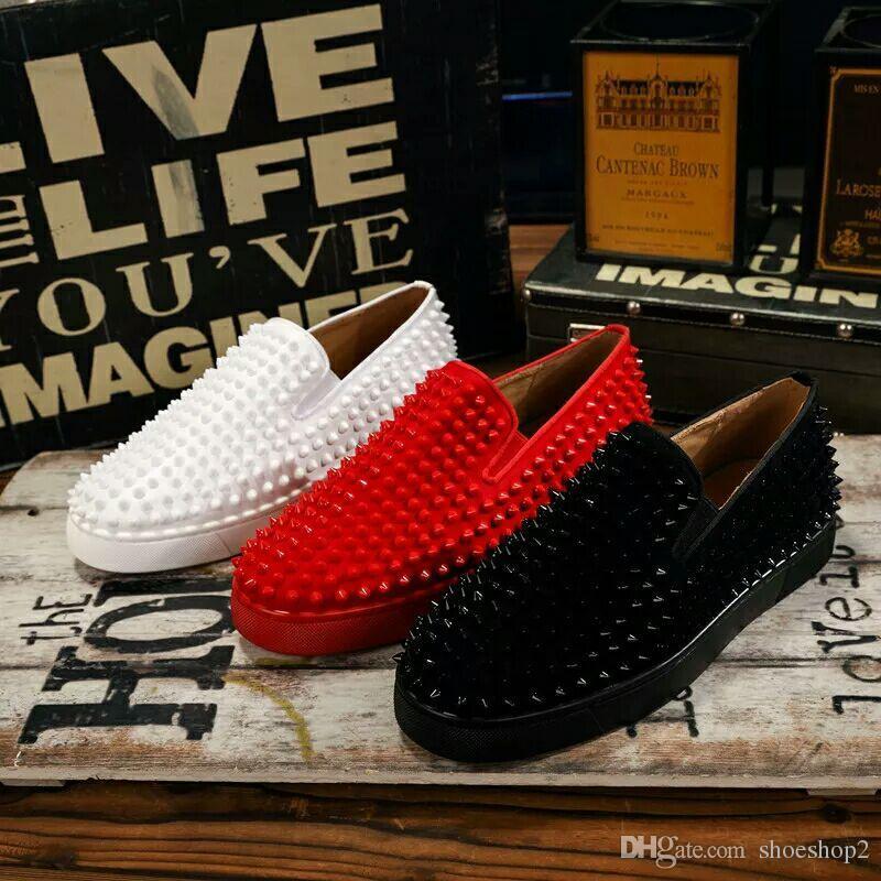 Luxus Designer Red Bottom Loafers Für Männer Frauen Echtes Leder Slip On Plattform Casual Turnschuhe Spikes Hochzeit Wohnungen Wohnungen Männer Schuhe 35-46