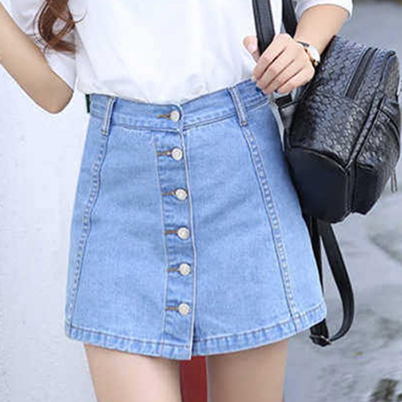05b1bfb9774832 2019 nouvelle mode été femmes Sexy Denim jupes taille haute avant simple  boutonnage vintage dames filles une ligne mini jeans jupe