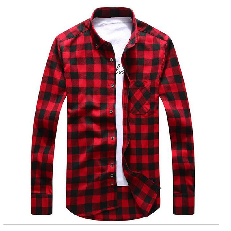 2019 Mens Flannel Shirts Spring Plaid Shirt Men Slim Fit Long Sleeve