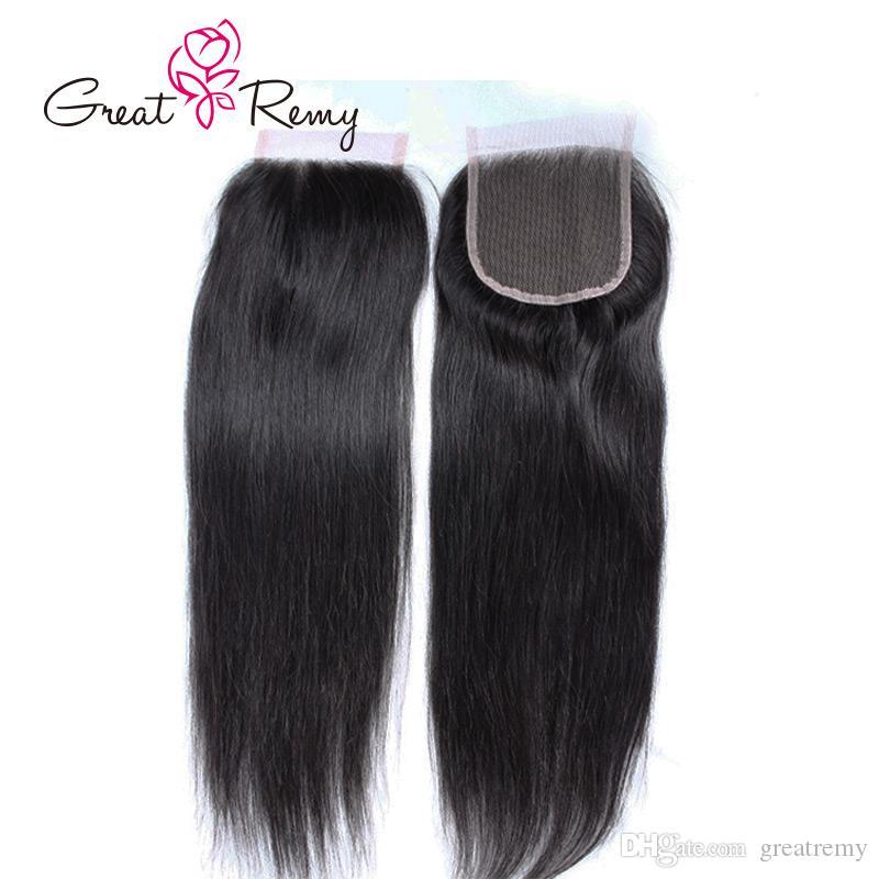Greatremy® 10A brasilianischen gerade Menschenhaar-Pre-Zupforchester Bestnote Schluss mit Baby-Haare 12-18in Natural Color besten Qualität Glattes Haar