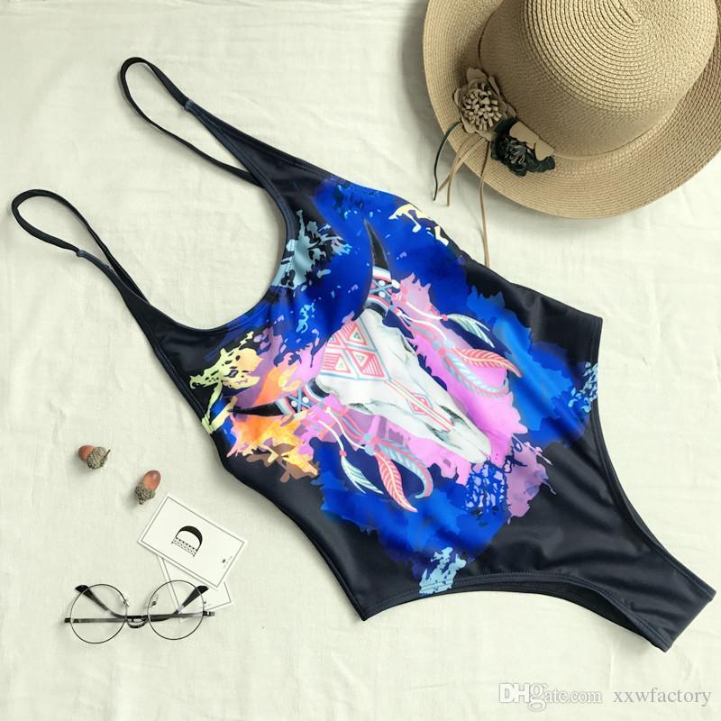 Toldder women printing bikini swimwear bathing suit Bandage One Piece bikinis bathing suit for Lovely Beachwear