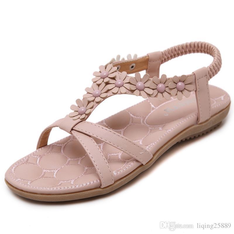 52962a997213e New Women s Sandals Summer Sweet Boho Soft Bottom Exposed Toe Pink ...