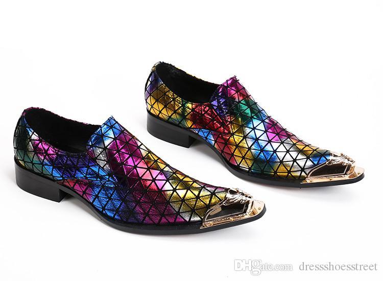 Mens elbise ayakkabı karışık renkler altın sivri burun zapatilla adam erkek deri balo ayakkabı oxford parti loafer'lar