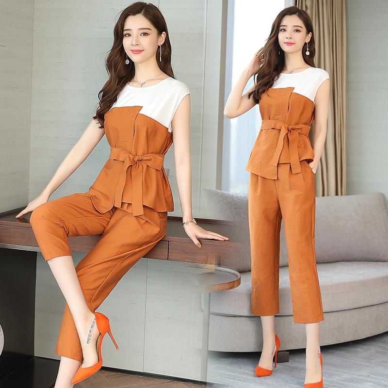 53395eee199e 2019 Co Ord Set Women Set Top And Pants Suits Summer Ourfit Orange Sliming  Bodycon Sleeveless Elegant Noble Casual Clothing From Karel, $39.93 |  DHgate.Com