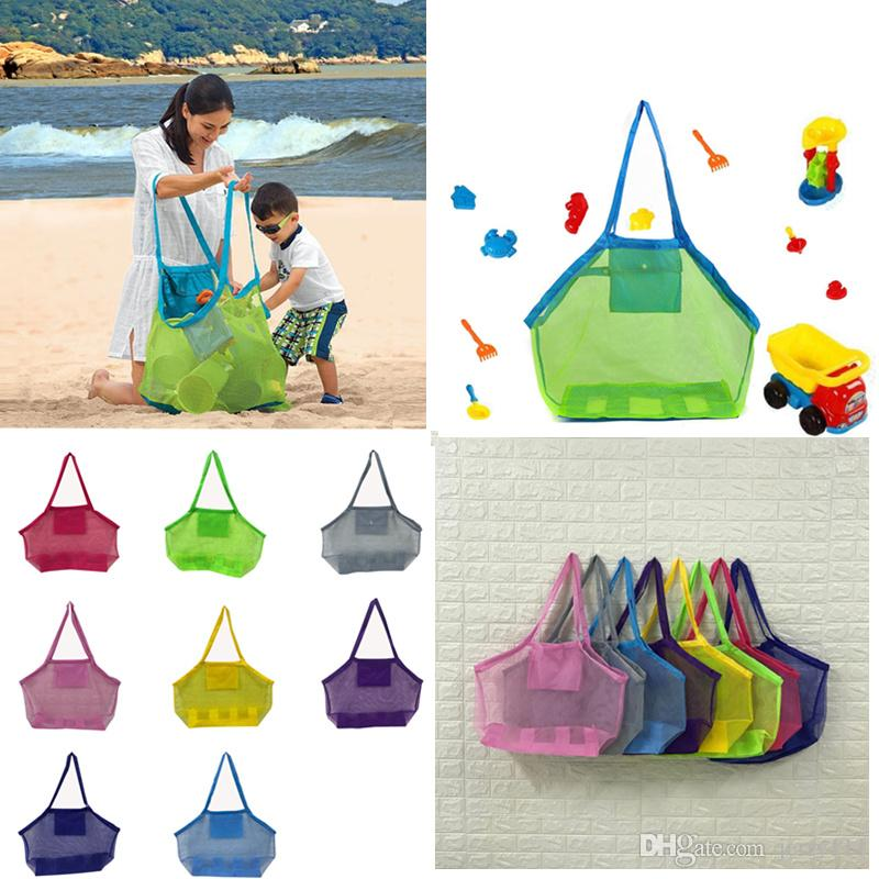 2d5da73ced8 Kids Mesh Beach Bag Shell Bag Pouch Tote Portable Folding Toys Storage Bags  Toys Kids Sandboxes 45*30CM LC897 Purse For Baby Girl Girls Beach Bags From  ...