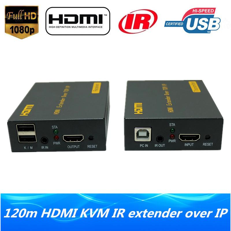 f5a233edbf2 High Quality IP Network HDMI USB Keyboard Mouse KVM Extender 120m Over TCP  IP 1080P HDMI KVM IR Extender Via RJ45 Cat5e/6 Cable Computer Cables And ...