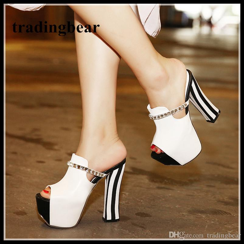 8485f46e8df3 14cm Black White Stripes Rhinestone Thick High Heels Platform Slipper Shoes  Women Chunky Heel Sandal Size 34 To 39 Cheap Shoes For Men Italian Shoes  From ...