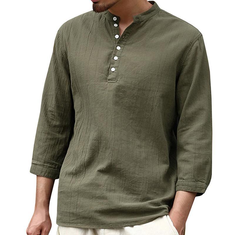 378ed0f76e Compre Hombres Camisas De Lino De Algodón Moda 2018 Otoño Suave De Tres  Cuartos De Lino Delgado Masculino Sólido Camisas Casuales Más Tamaño 3XL  Tops 8J0574 ...