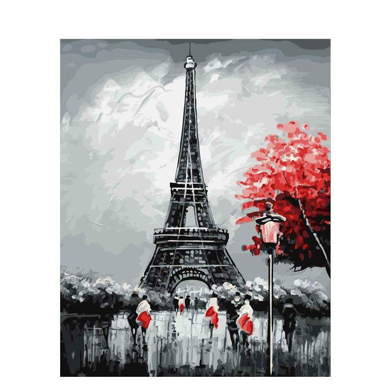 Grosshandel Gerahmter Eiffelturm Diy Malen Nach Zahlen Zeichnen Durch