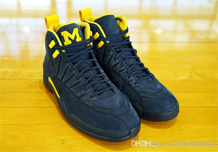 0059e66347000e 2018 Best 12 RTR MICHIGAN NRG MICHIGAN x PSNY 12S Men Basketball Shoes  Authentic Real Carbon Fiber Sports Sneakers With Box BQ3180-407