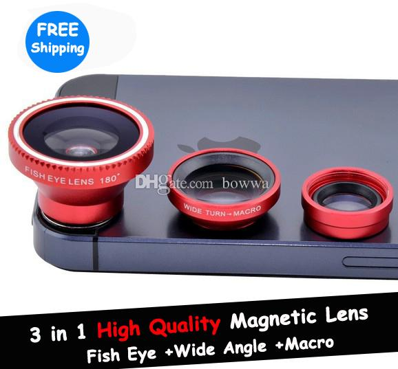 1pc Magnetic 3 in 1 Wide Angle lens/ Macro lens/180 Fish Eye Lens Kit Set  for iPhone 6 6S plus 5S 4 4S iPod Nano 4G iPad,free shipping