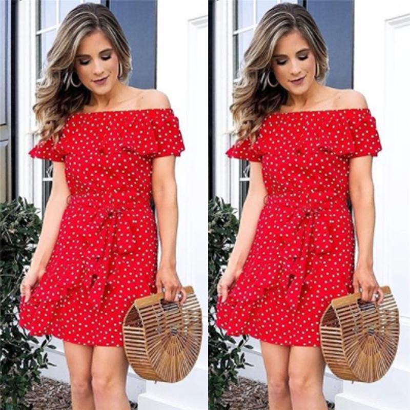 08795fcebb16 Trendy Women Dress Off Shoulder Ruffle Polka Dot Bandage Bodycon Short  Sleeve Red Party Polyester Mini Dresses White Floral Sundress Green Dress  Juniors ...