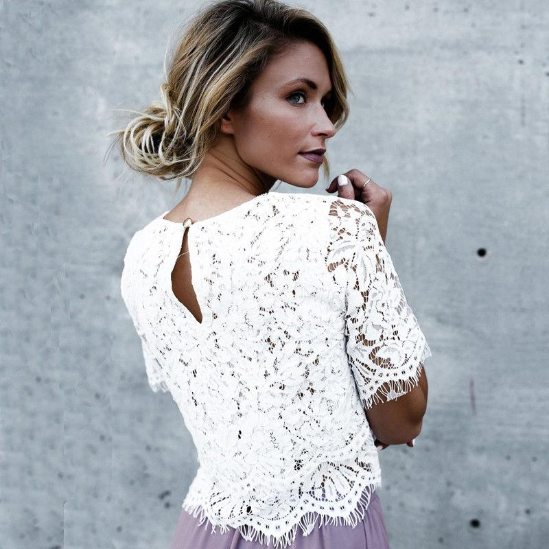 85f565f24e06 2019 2018 Summer Sexy Women Blouse Tops New Female Casual Solid Blusas Half  Sleeve Shirt Ladies White Floral Lace Holow Out Blouse From Saltblue, ...