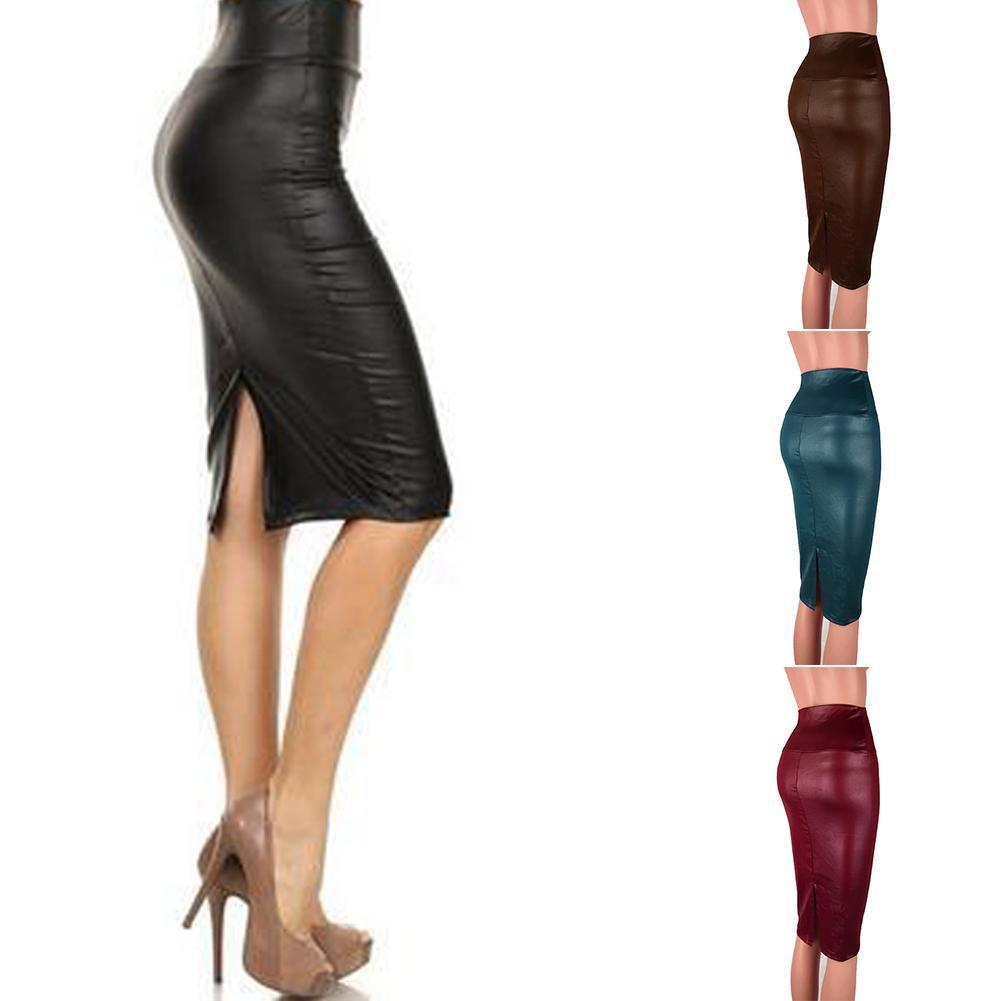 2d553e61cf0cb 2019 Women PU Faux Leather Bodycon Skirt Sexy Autumn High Waist Midi Skirts  Plus Size Pencil Slim Split Skirt Clubwear From Rykeri
