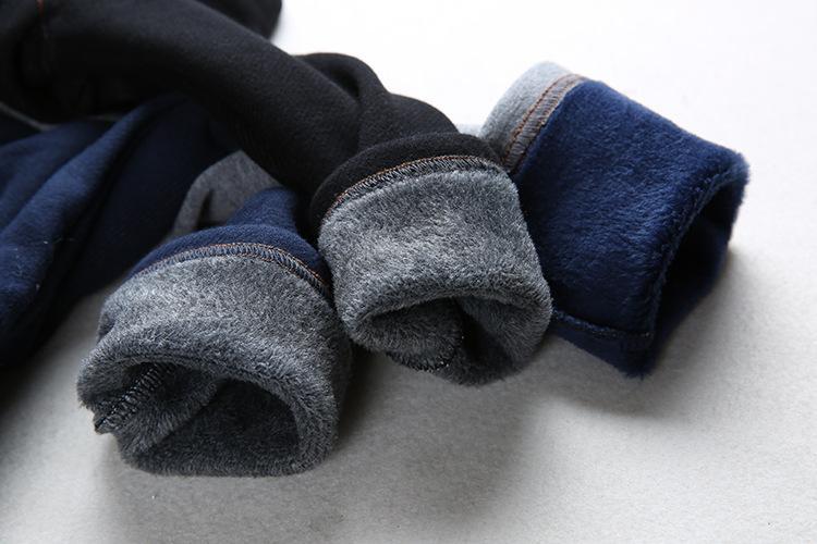 Nova Moda Imitação de Jeans Meninos Calças de Inverno Em Linha Reta Grossa Elástico Primavera Inverno Calças Compridas Para Meninos Meninas 1-4Y KJ-1592