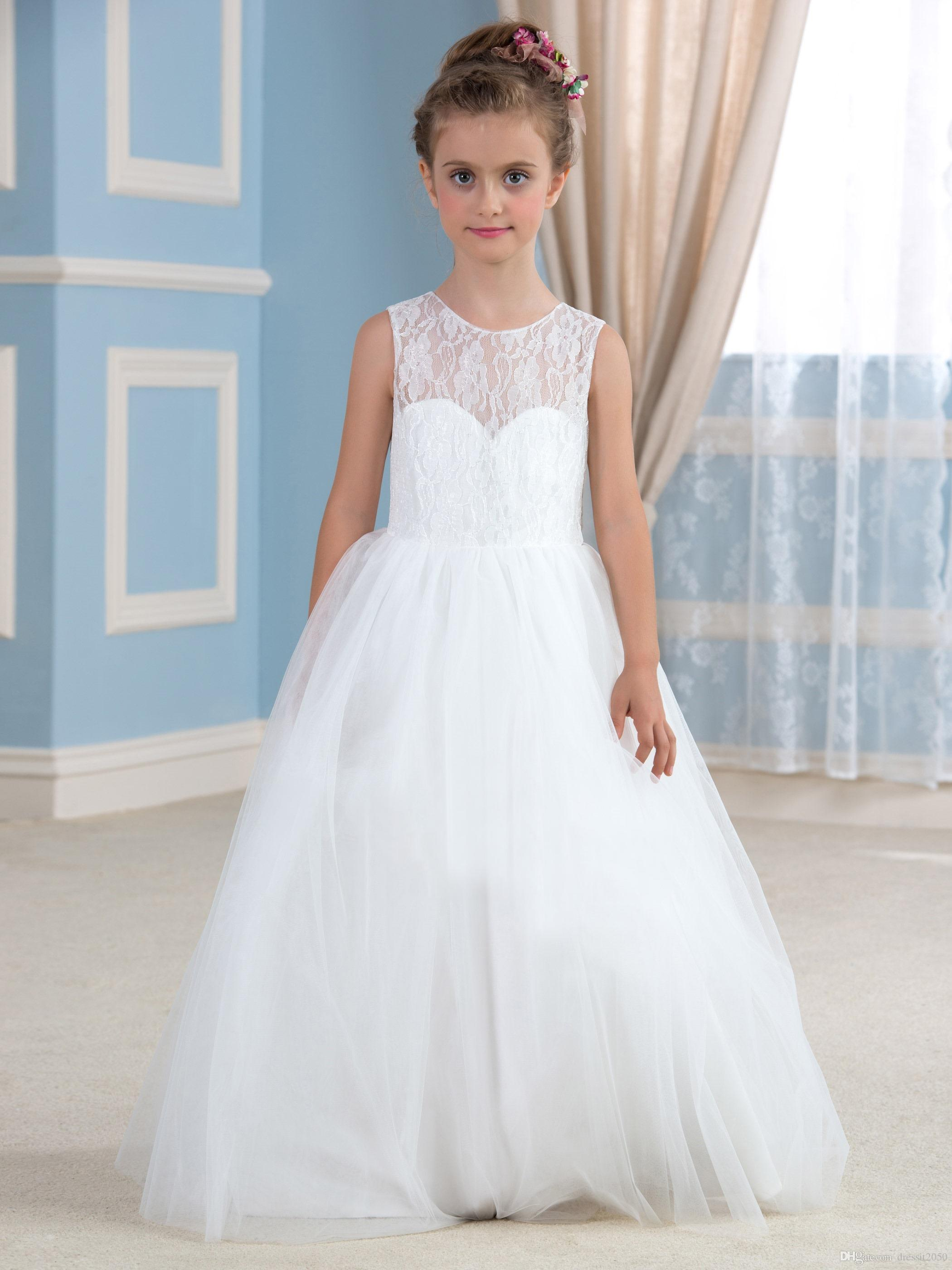 Lovely White Lacetulle Jewel Flower Girl Dresses Girls Pageant