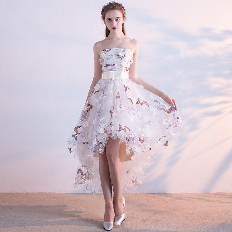 d4f00d7d5 Compre Sin Tirantes Plisado Encaje Arriba Baja Asimetría Vintage Elegante  Flores Tafetán Prom Vestido De Baile Partido Vestidos De Fiesta LX018 A   46.41 Del ...